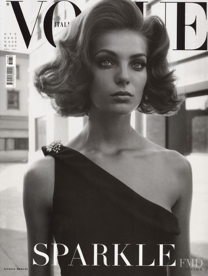 Daria Werbowy featured on the Vogue Italy cover from October 2003