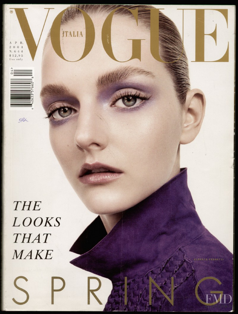 Lydia Hearst featured on the Vogue Italy cover from April 2004