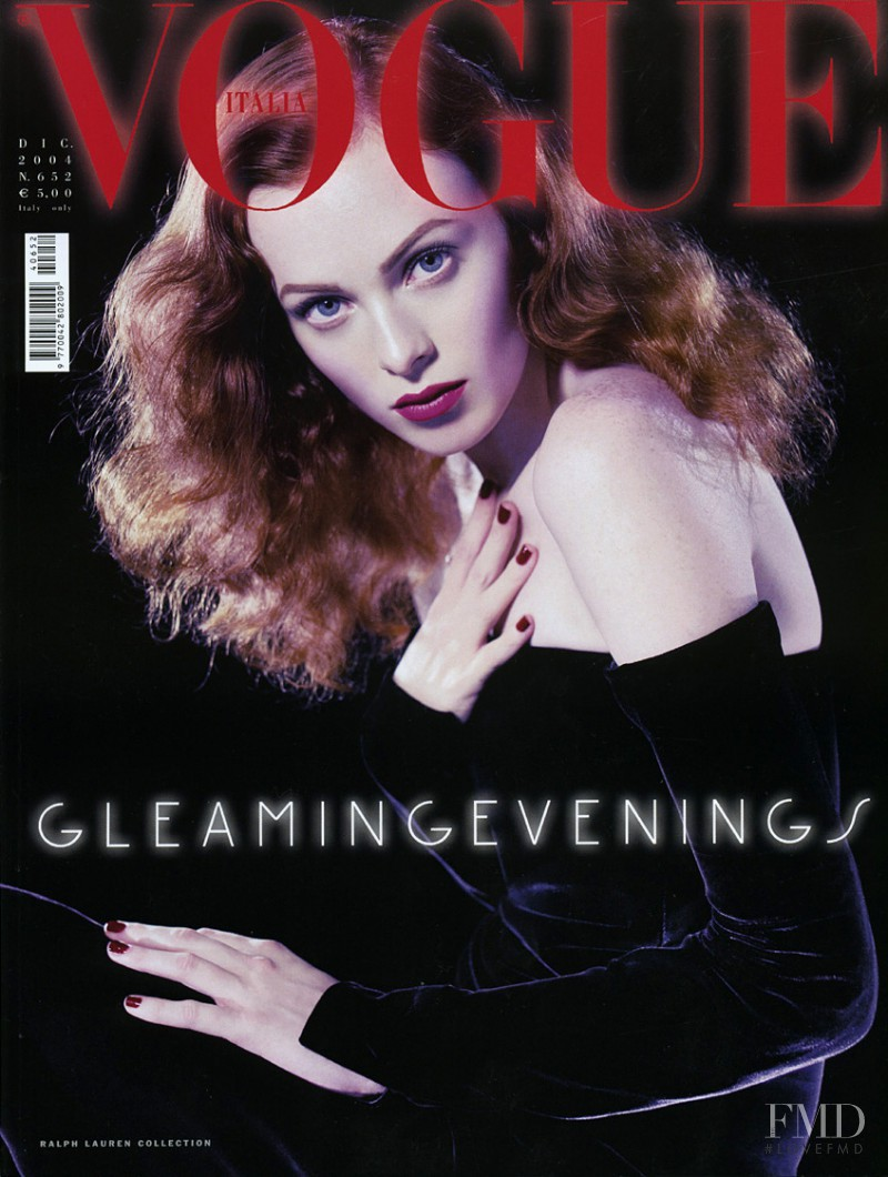 Karen Elson featured on the Vogue Italy cover from December 2004