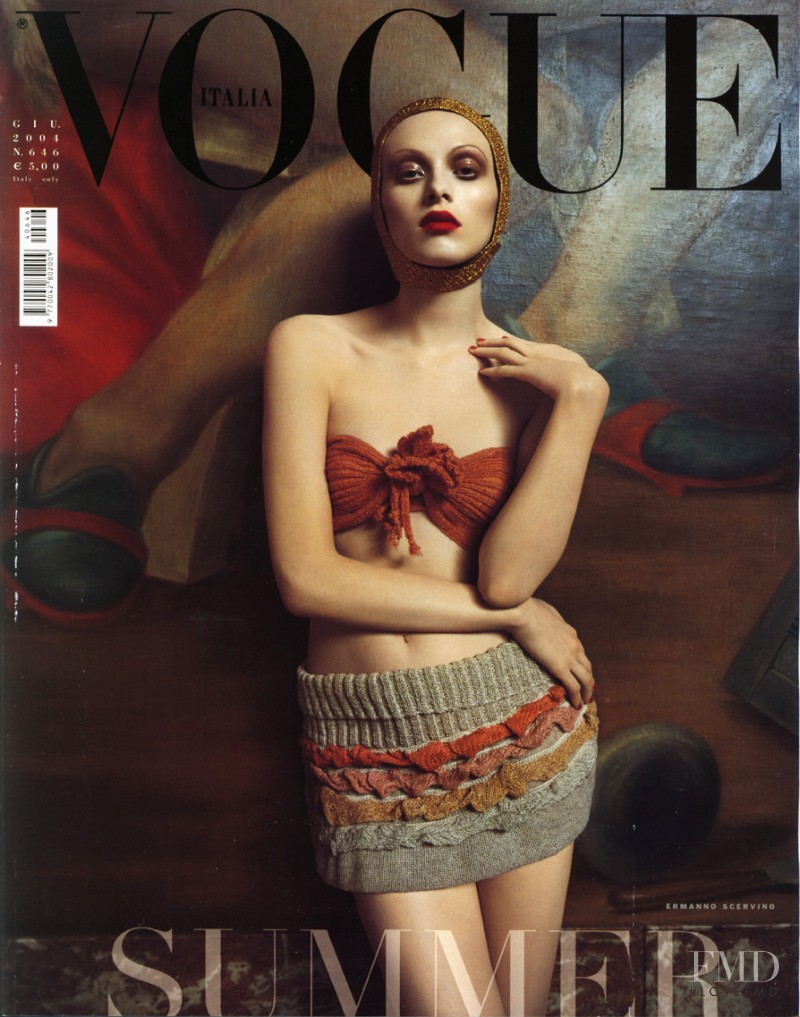 Karen Elson featured on the Vogue Italy cover from June 2004