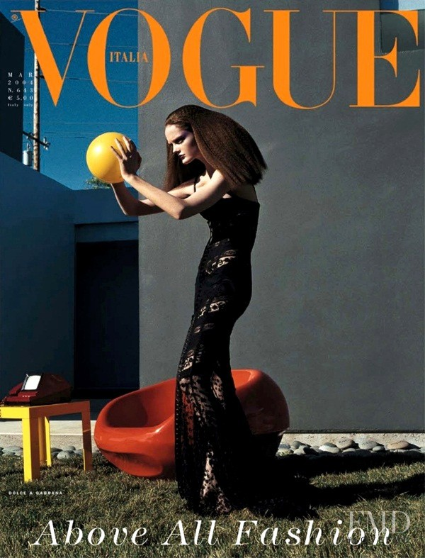 Lisa Cant featured on the Vogue Italy cover from March 2004