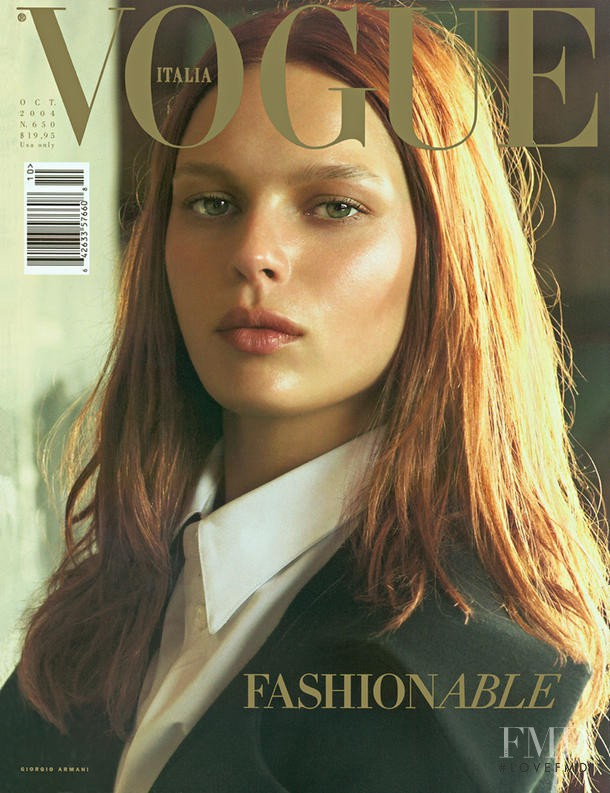 Elise Crombez featured on the Vogue Italy cover from October 2004