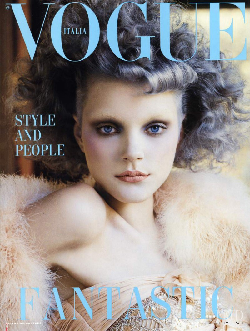 Jessica Stam featured on the Vogue Italy cover from September 2004