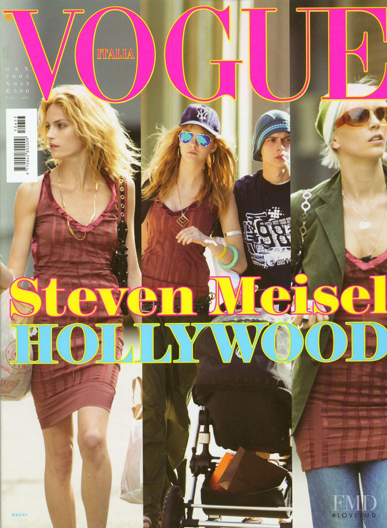 Missy Rayder, Hannelore Knuts, Caroline Trentini featured on the Vogue Italy cover from January 2005