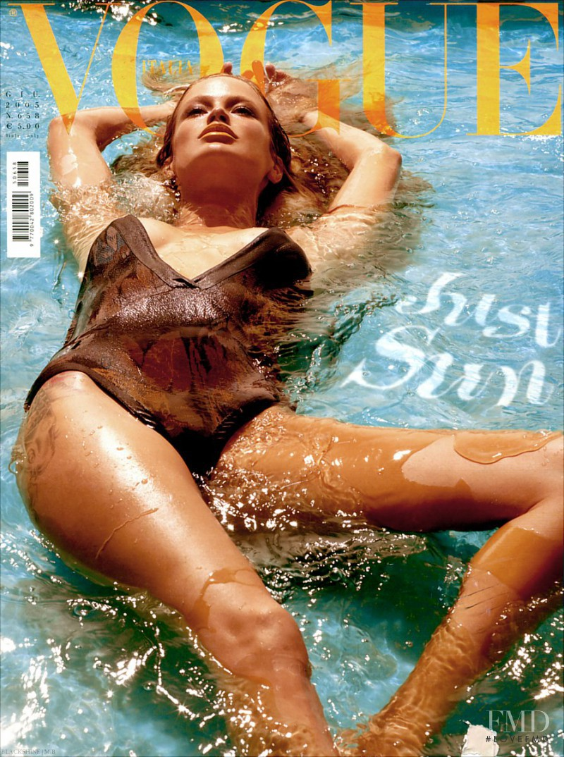 Carolyn Murphy featured on the Vogue Italy cover from June 2005