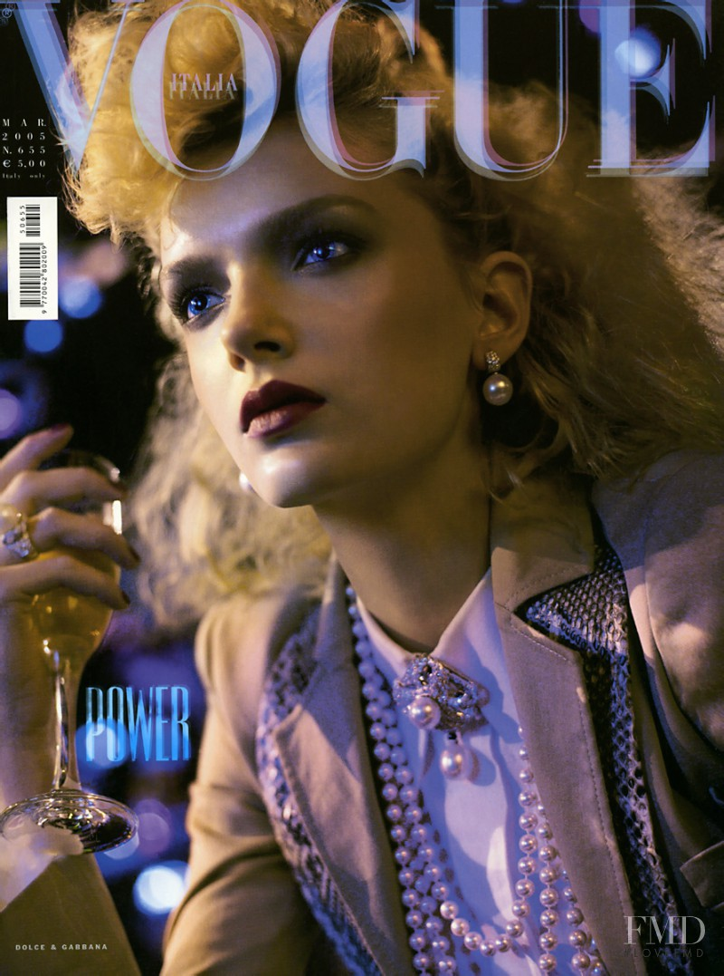 Lily Donaldson featured on the Vogue Italy cover from March 2005