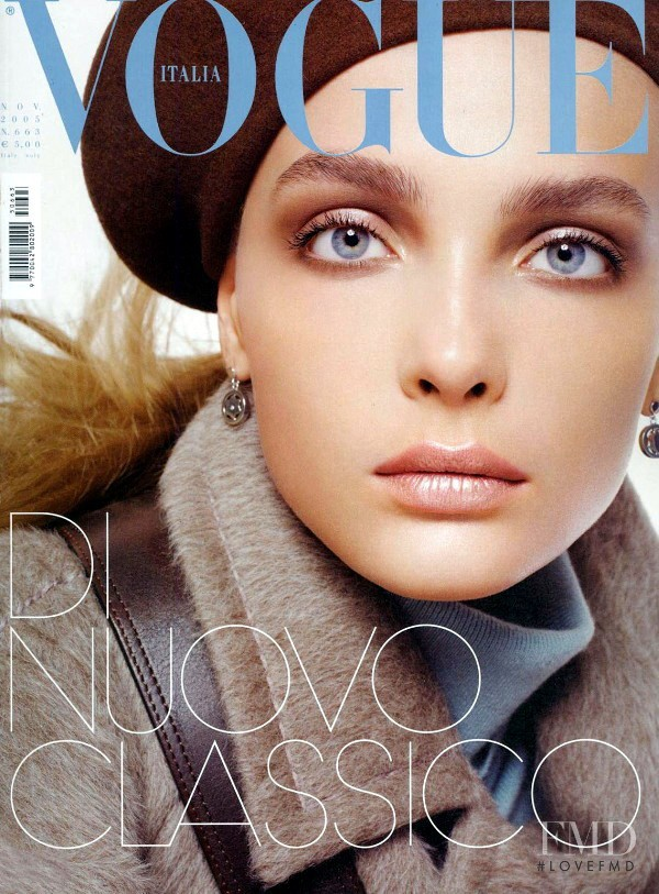Snejana Onopka featured on the Vogue Italy cover from November 2005