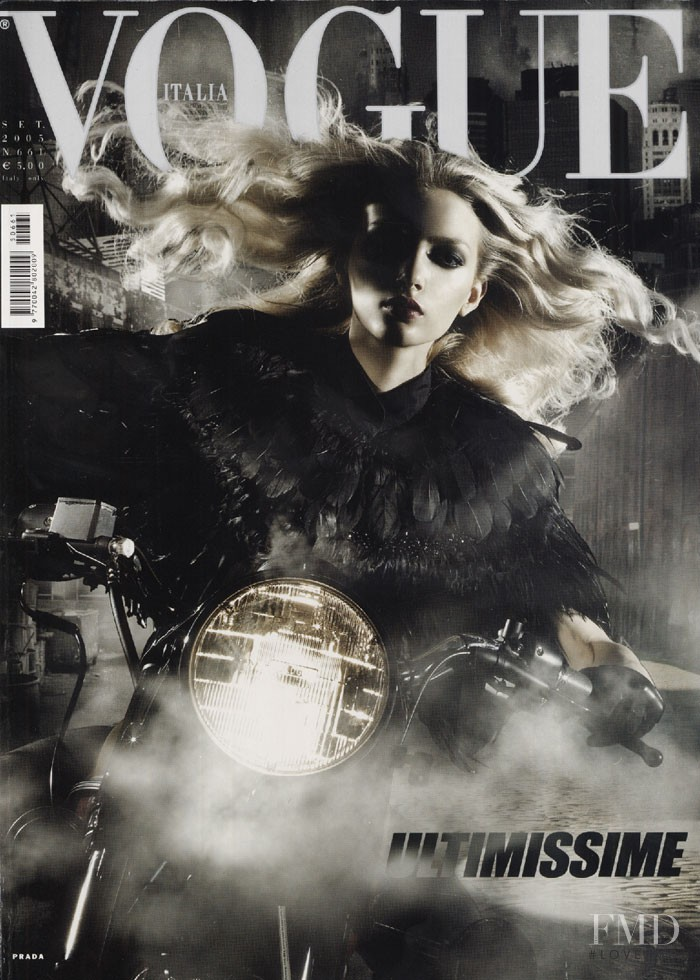 Lily Donaldson featured on the Vogue Italy cover from September 2005