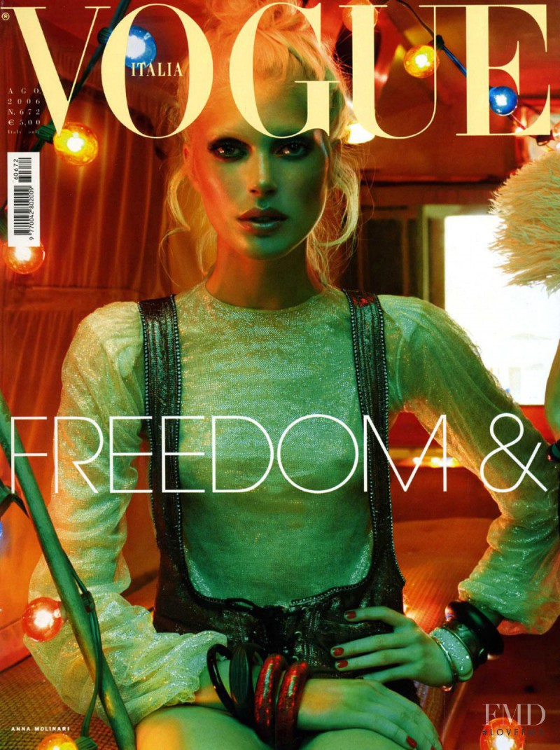 Iselin Steiro featured on the Vogue Italy cover from August 2006