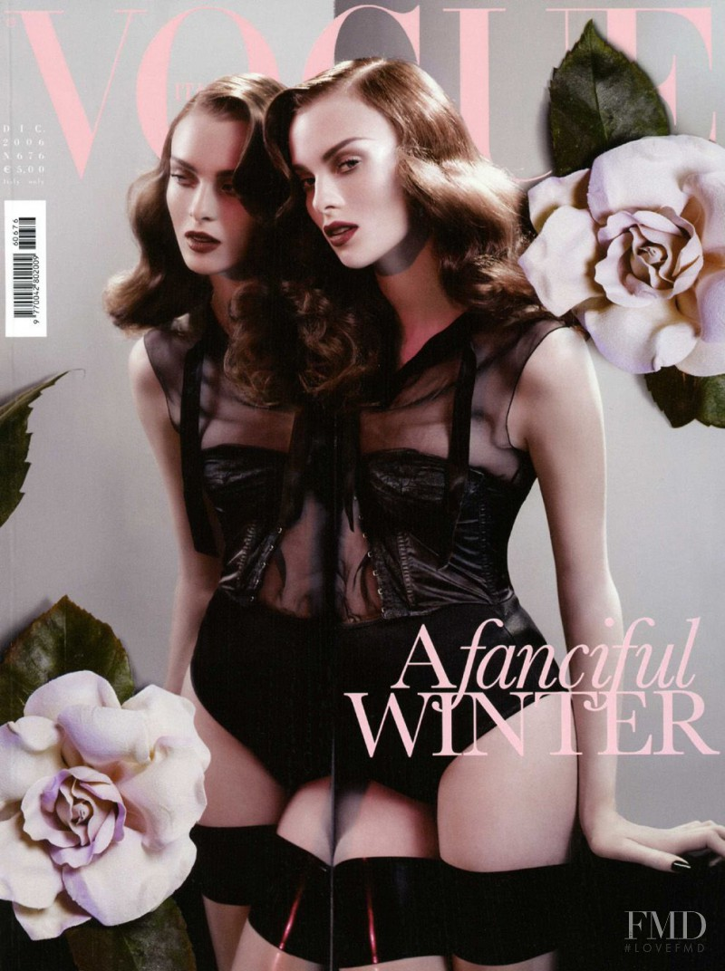 Karen Elson featured on the Vogue Italy cover from December 2006