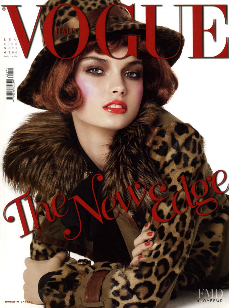 Anna Maria Urajevskaya featured on the Vogue Italy cover from July 2006