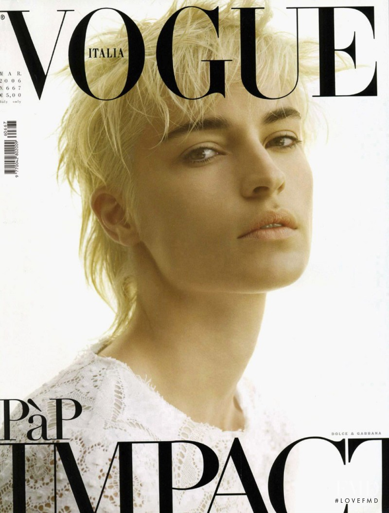 Amanda Moore featured on the Vogue Italy cover from March 2006