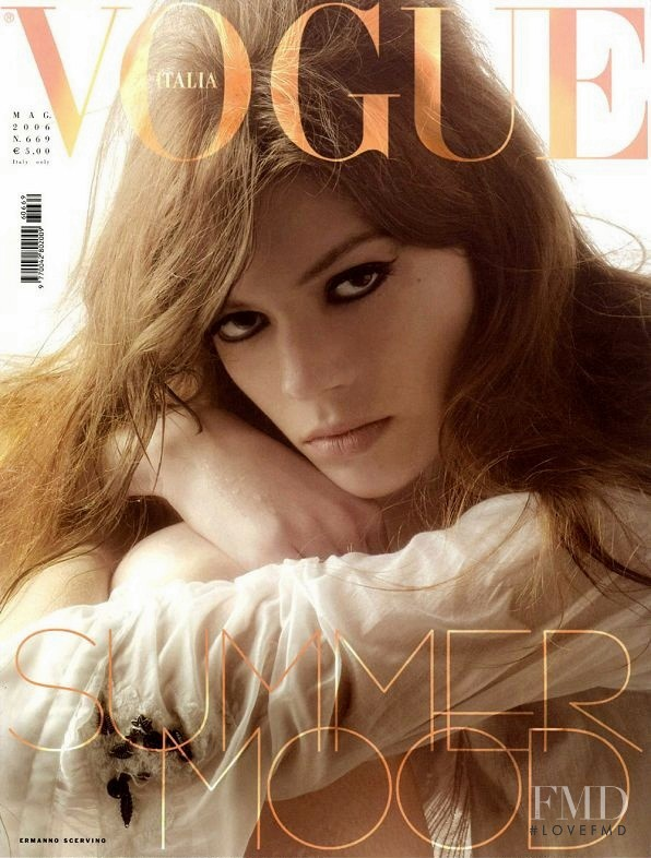 Heather Bratton featured on the Vogue Italy cover from May 2006