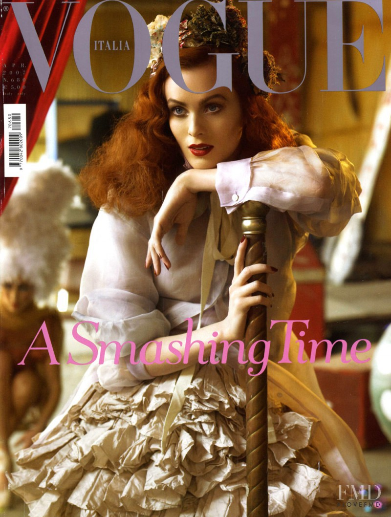 Karen Elson featured on the Vogue Italy cover from April 2007