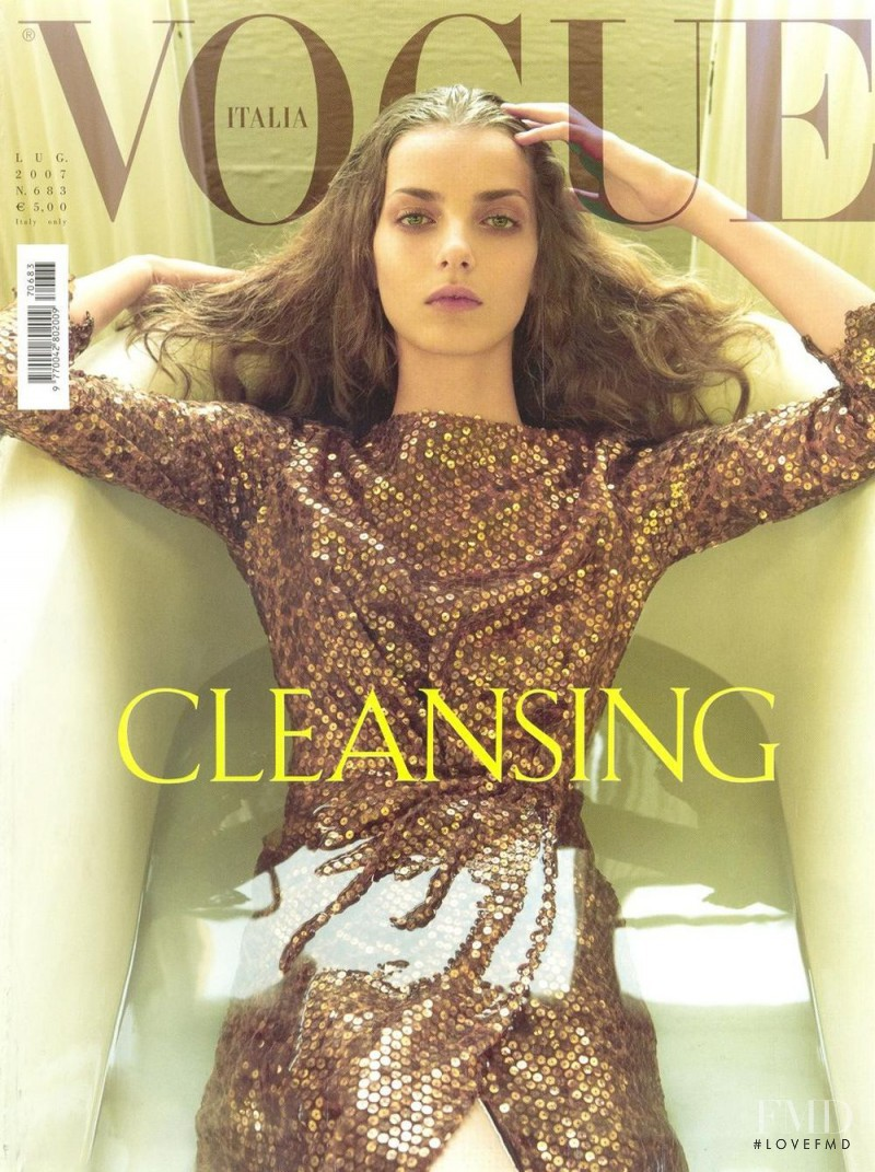 Denisa Dvorakova featured on the Vogue Italy cover from July 2007
