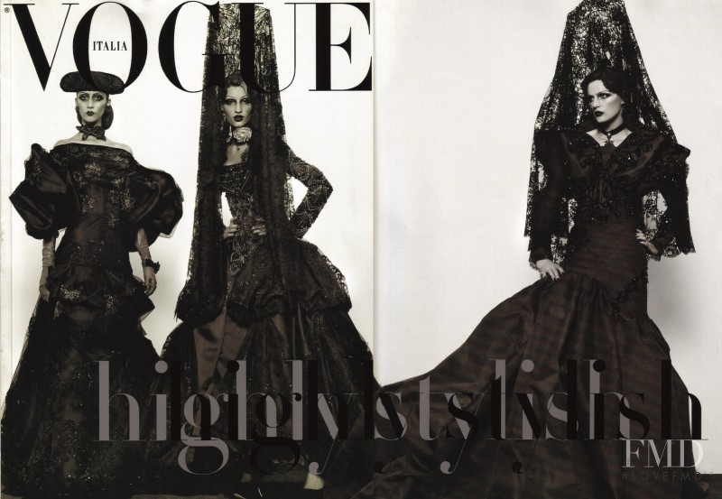 Stella Tennant, Linda Vojtova, Alana Zimmer featured on the Vogue Italy cover from September 2007