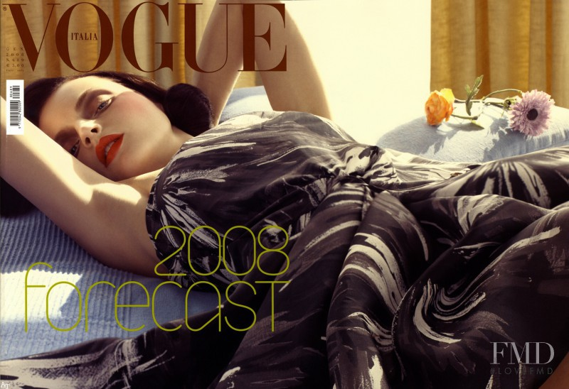 Guinevere van Seenus featured on the Vogue Italy cover from January 2008
