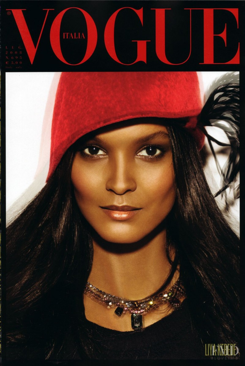 Liya Kebede featured on the Vogue Italy cover from July 2008