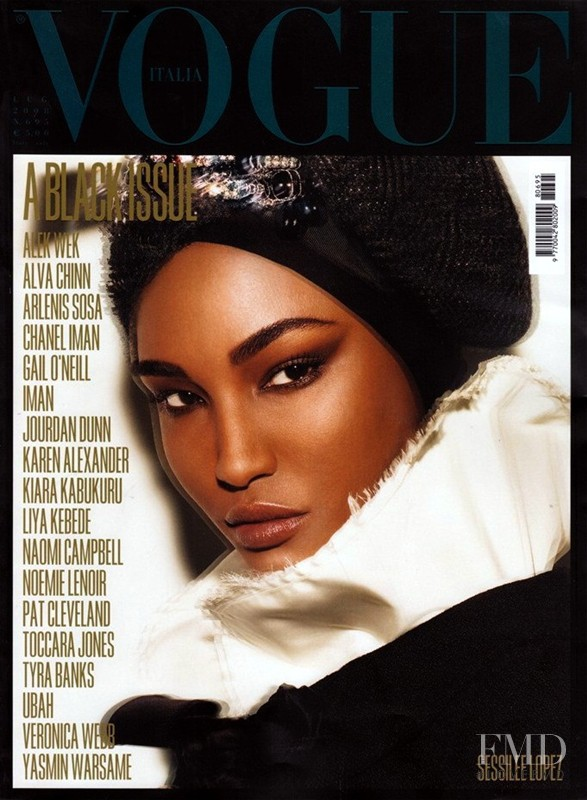 Sessilee Lopez featured on the Vogue Italy cover from July 2008