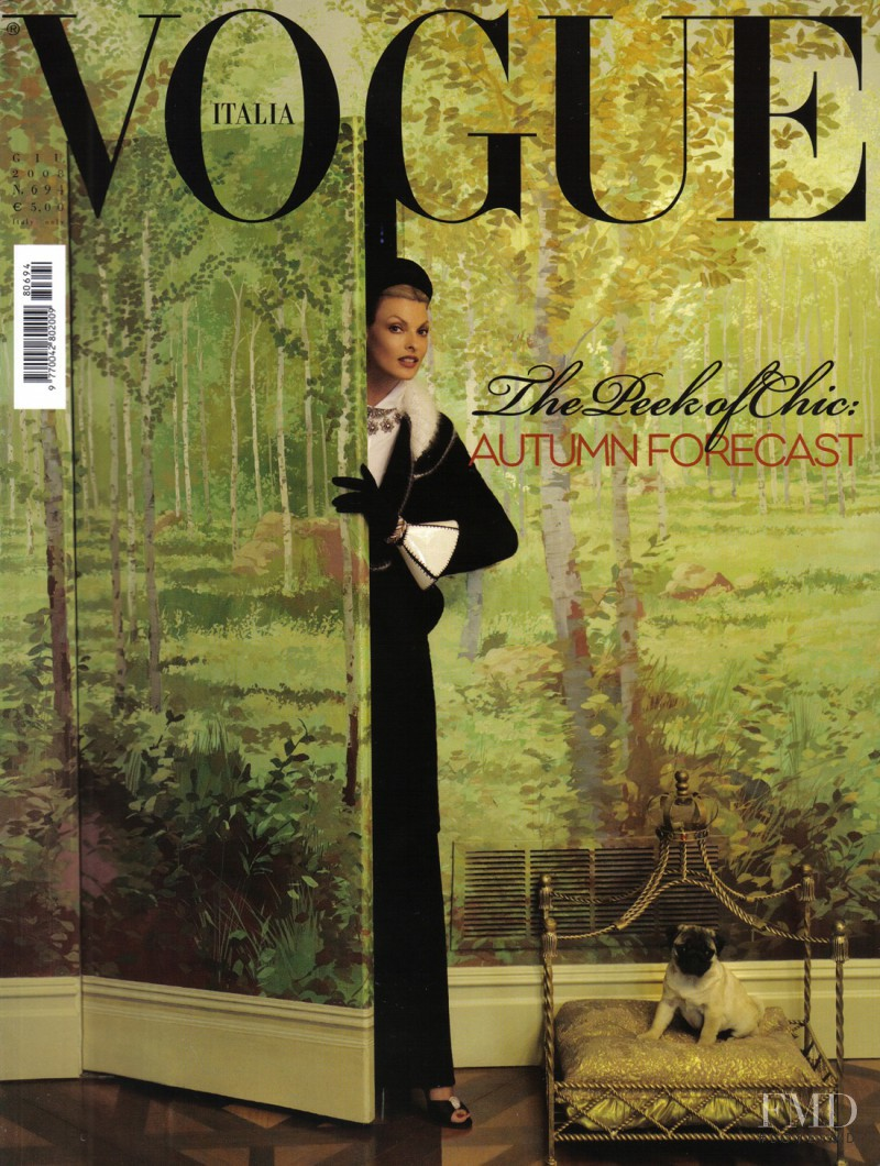 Linda Evangelista featured on the Vogue Italy cover from June 2008