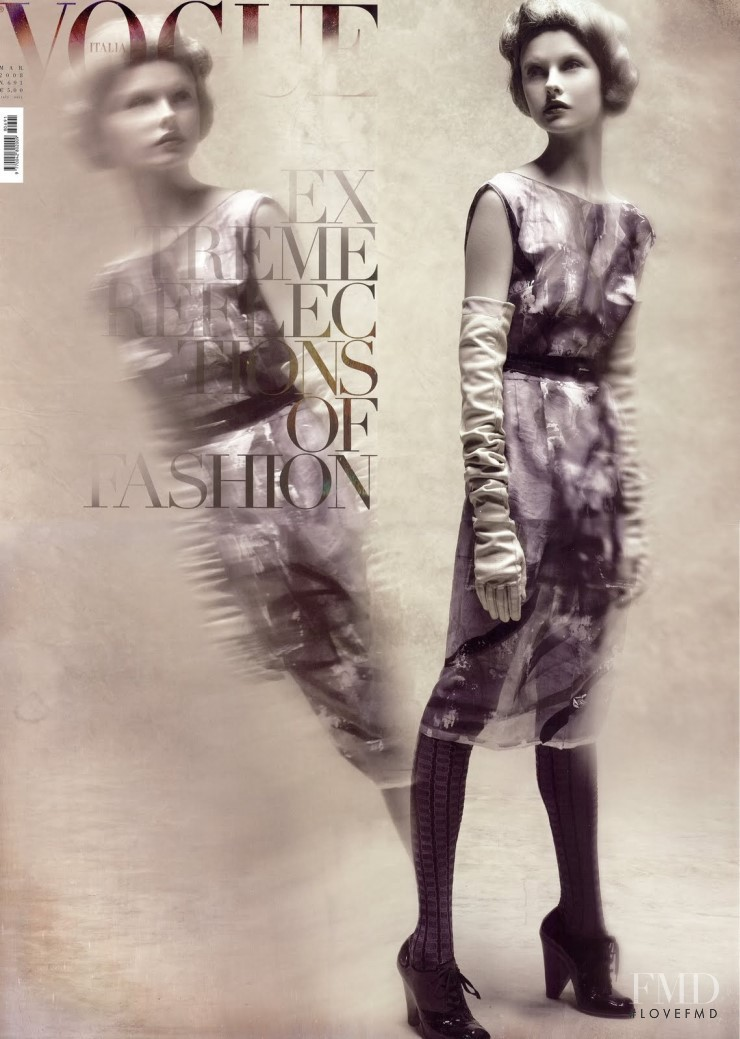 Kamila Filipcikova featured on the Vogue Italy cover from March 2008