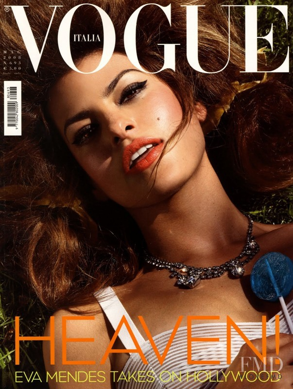 Eva Mendes  featured on the Vogue Italy cover from May 2008