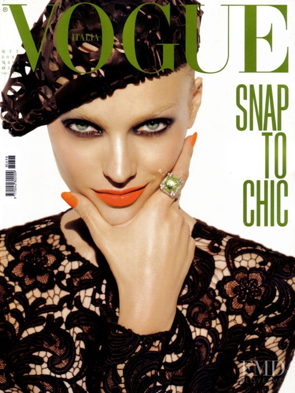 Anna Maria Jagodzinska featured on the Vogue Italy cover from October 2008