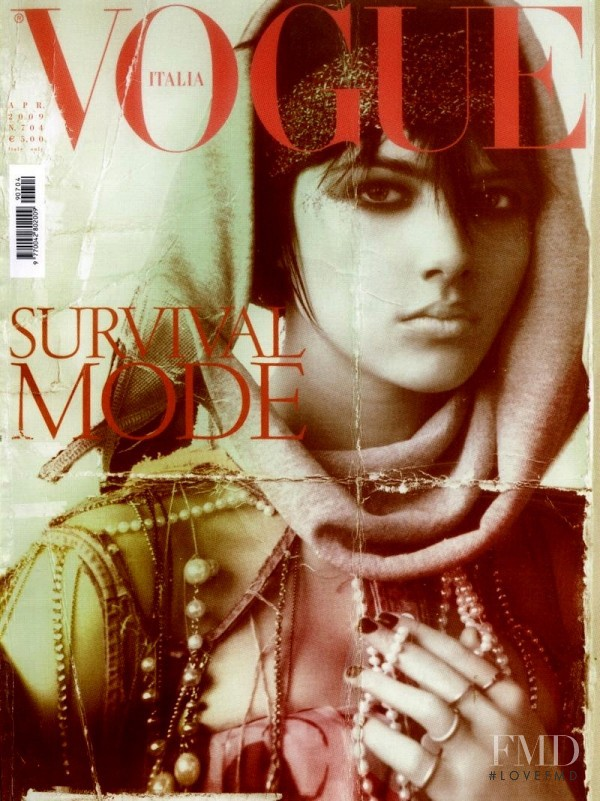 Eliza Cummings featured on the Vogue Italy cover from April 2009