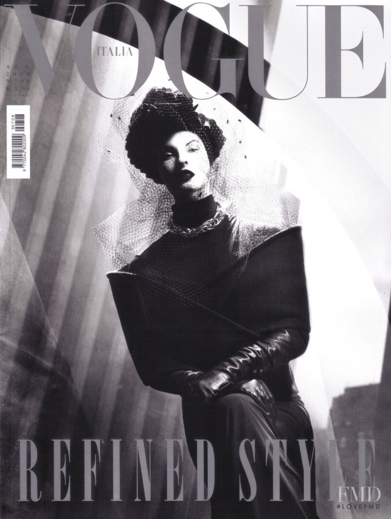 Linda Evangelista featured on the Vogue Italy cover from August 2009