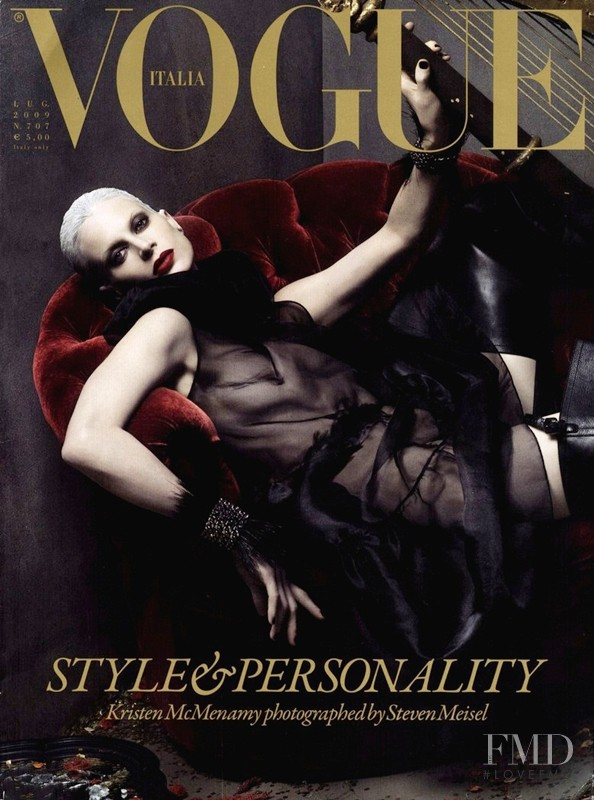 Kristen McMenamy featured on the Vogue Italy cover from July 2009