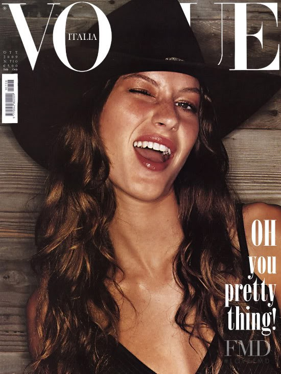 Gisele Bundchen featured on the Vogue Italy cover from October 2009