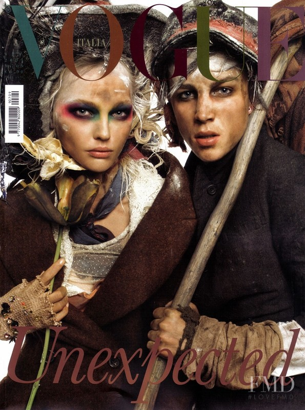 Sasha Pivovarova featured on the Vogue Italy cover from September 2009