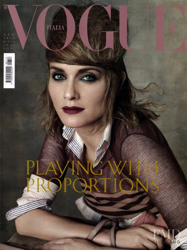 Amber Valletta featured on the Vogue Italy cover from April 2010