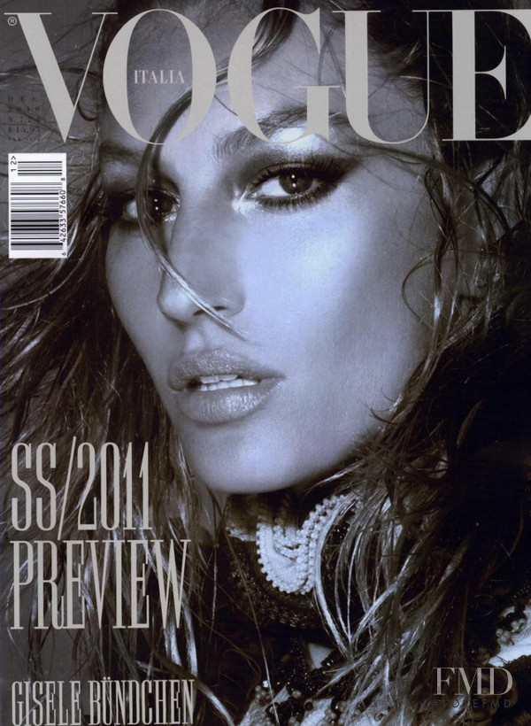 Gisele Bundchen featured on the Vogue Italy cover from December 2010