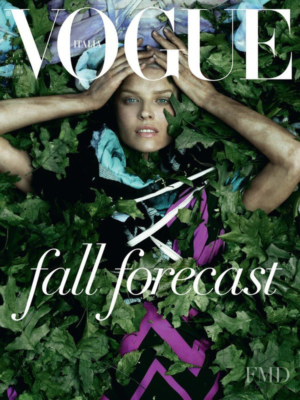 Eva Herzigova featured on the Vogue Italy cover from June 2010