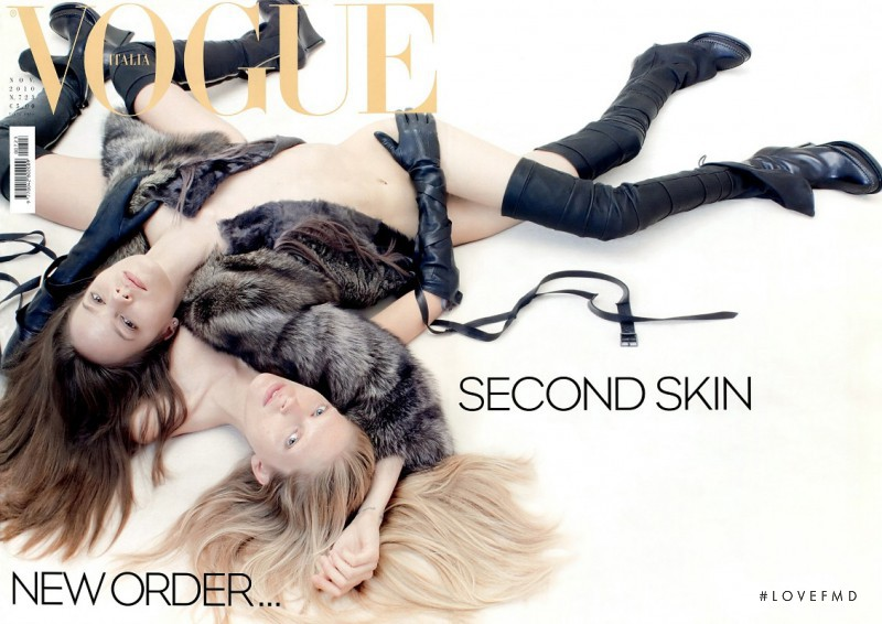 Iselin Steiro, Freja Beha Erichsen featured on the Vogue Italy cover from November 2010