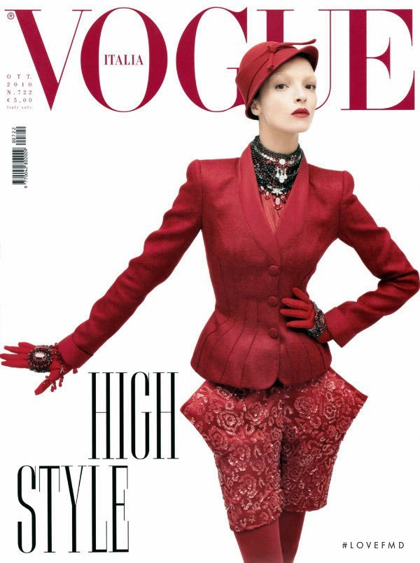 Mariacarla Boscono featured on the Vogue Italy cover from October 2010