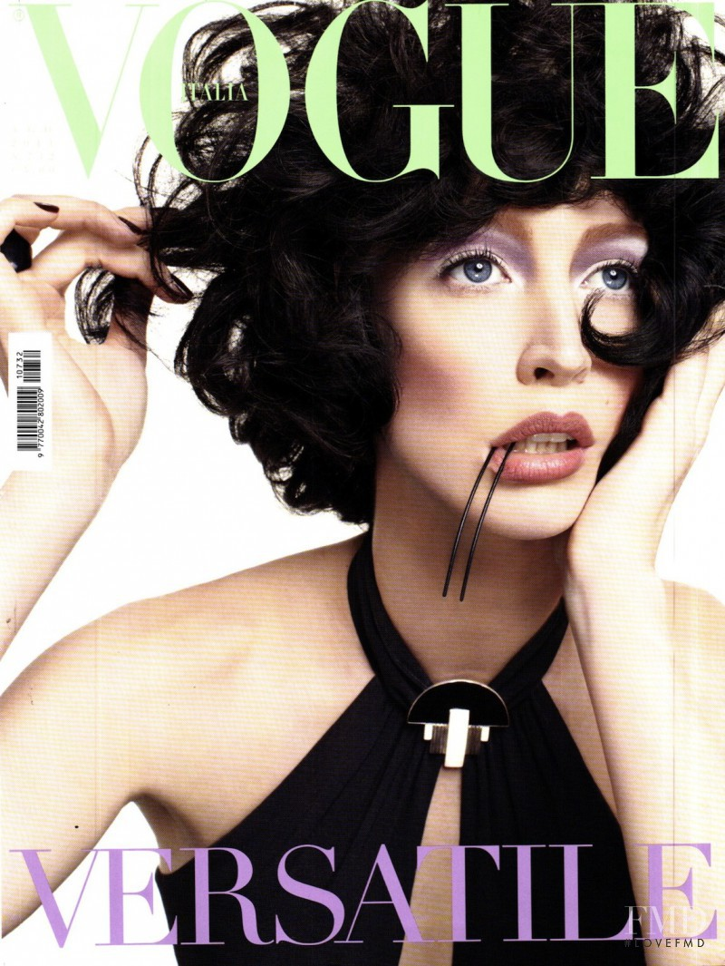 Raquel Zimmermann featured on the Vogue Italy cover from August 2011