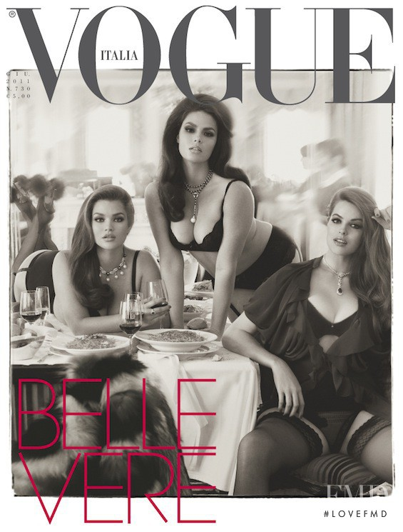 Tara Lynn, Candice Huffine, Robyn Lawley featured on the Vogue Italy cover from June 2011