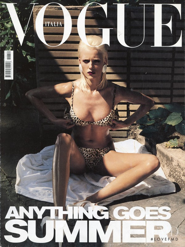 Diana Meszaros featured on the Vogue Italy cover from June 2001