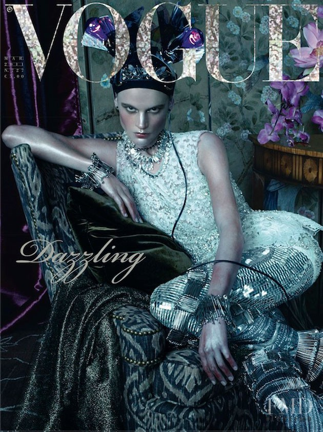 Saskia de Brauw featured on the Vogue Italy cover from March 2011