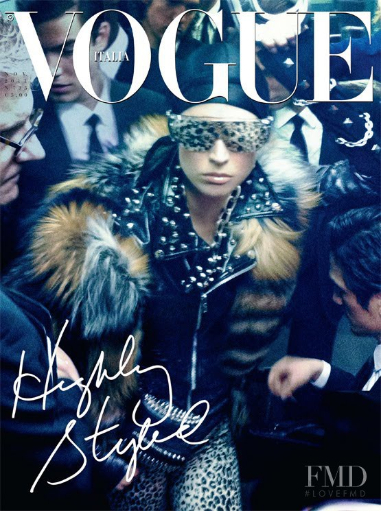 Raquel Zimmermann featured on the Vogue Italy cover from November 2011