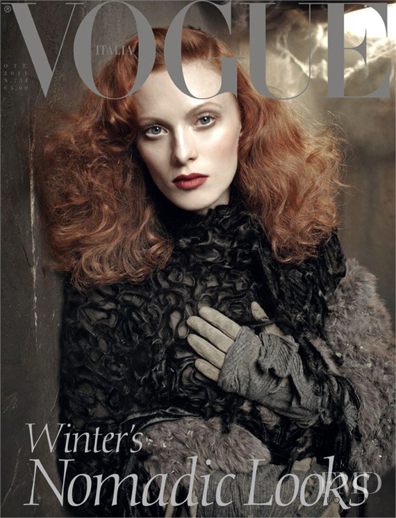 Karen Elson featured on the Vogue Italy cover from October 2011