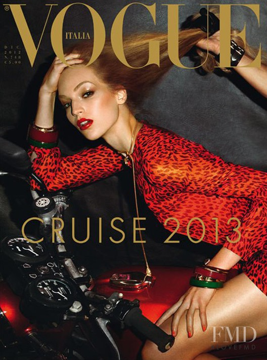Vanessa Axente featured on the Vogue Italy cover from December 2012