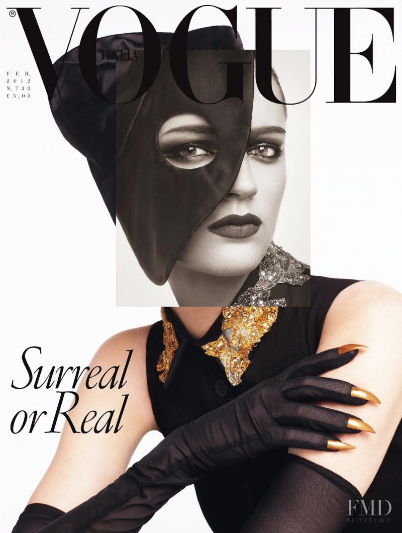 Laura Kampman featured on the Vogue Italy cover from February 2012