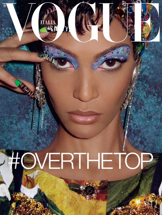Joan Smalls featured on the Vogue Italy cover from March 2012