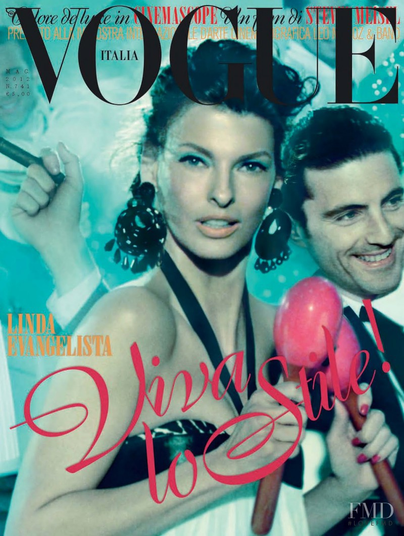 Linda Evangelista featured on the Vogue Italy cover from May 2012