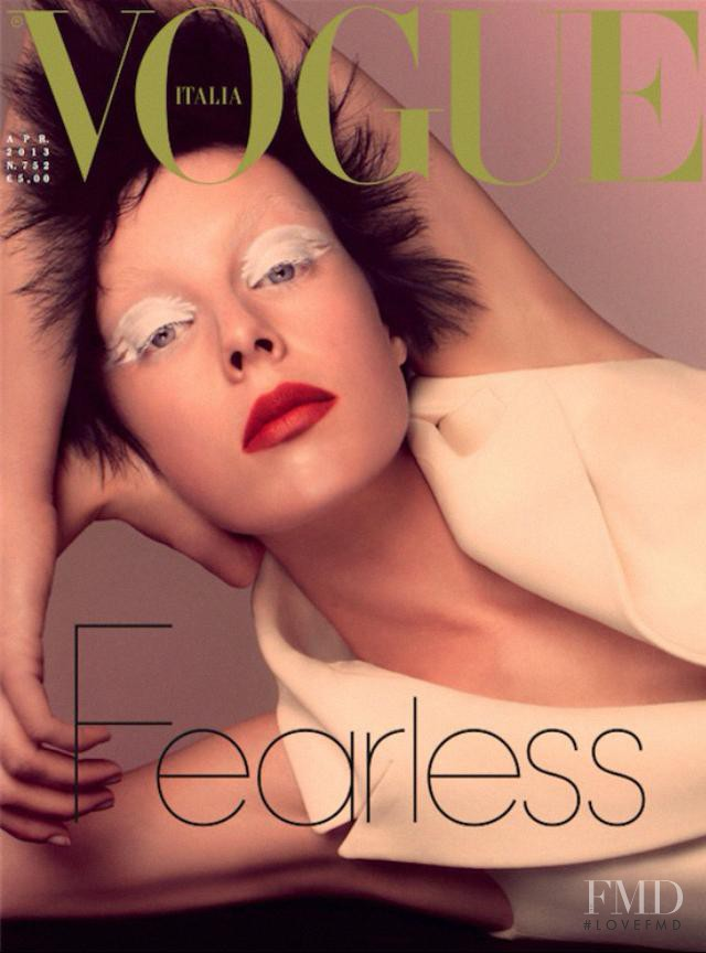 Edie Campbell featured on the Vogue Italy cover from April 2013