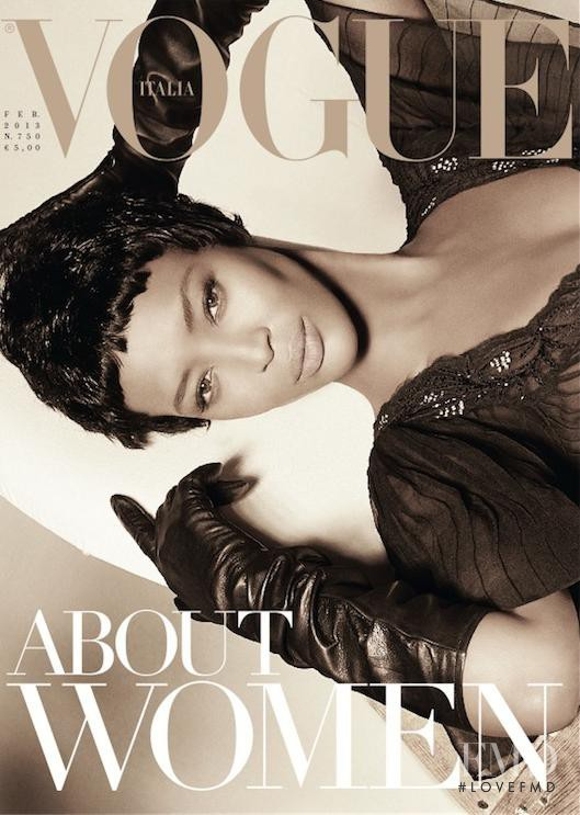 Naomi Campbell featured on the Vogue Italy cover from February 2013