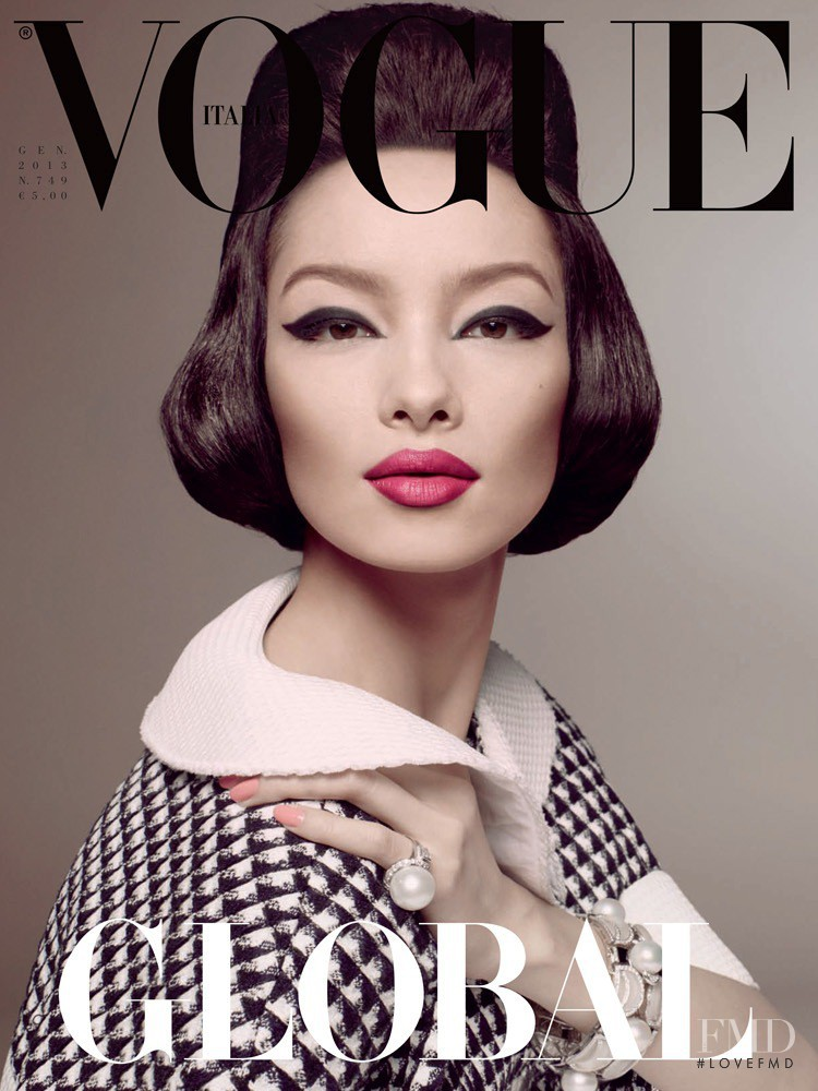 Fei Fei Sun featured on the Vogue Italy cover from January 2013